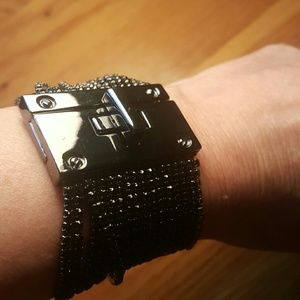 NWT Express Black Rhinestone Strands Turn Cuff